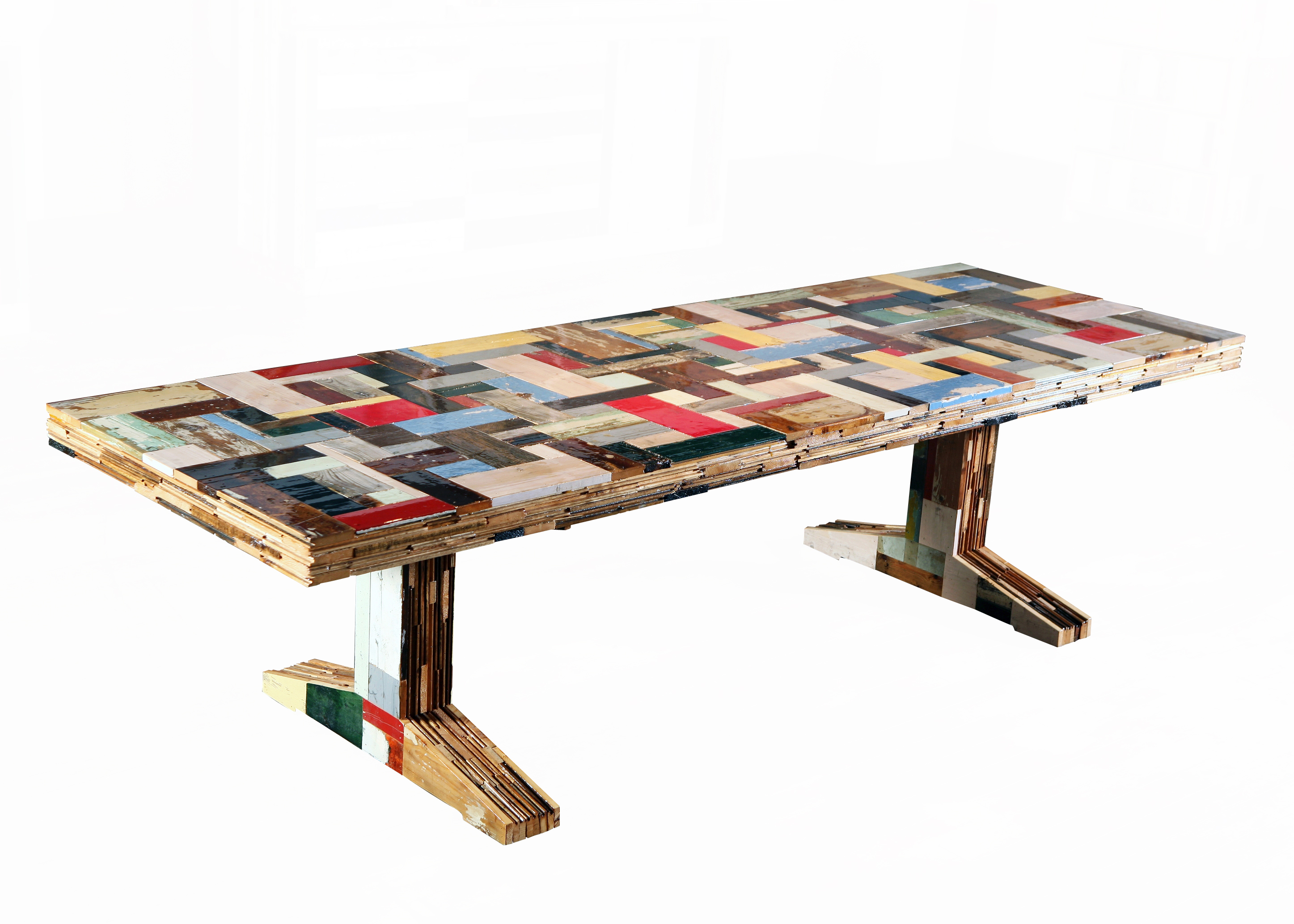 3835H Waste table in scrapwood - colourfulW