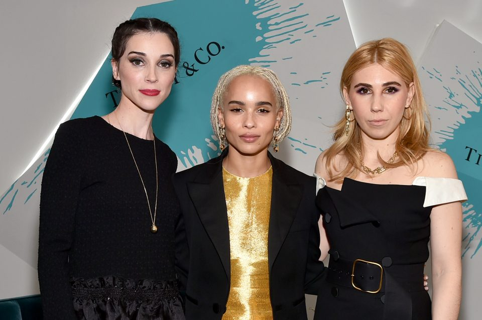 NEW YORK, NY - MARCH 15: Musician St. Vincent and Actors Zoe Kravitz and Zosia Mamet attend the Tiffany & Co. X Whitney Biennial at The Whitney Museum of American Art on March 15, 2017 in New York City. (Photo by Mike Coppola/Getty Images for Tiffany & Co)