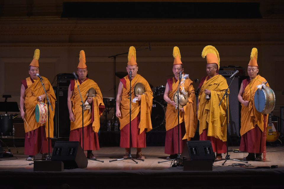 NEW YORK, NY - MARCH 16: Monks perform onstage during the Tibet House US 30th Anniversary Benefit Concert & Gala to celebrate Philip Glass's 80th Birthday at Carnegie Hall on March 16, 2017 in New York City. (Photo by Jason Kempin/Getty Images for Tibet House US)