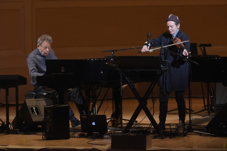 NEW YORK, NY - MARCH 16: Philip Glass and Laurie Anderson perform onstage during the Tibet House US 30th Anniversary Benefit Concert & Gala to celebrate Philip Glass's 80th Birthday at Carnegie Hall on March 16, 2017 in New York City. (Photo by Jason Kempin/Getty Images for Tibet House US)
